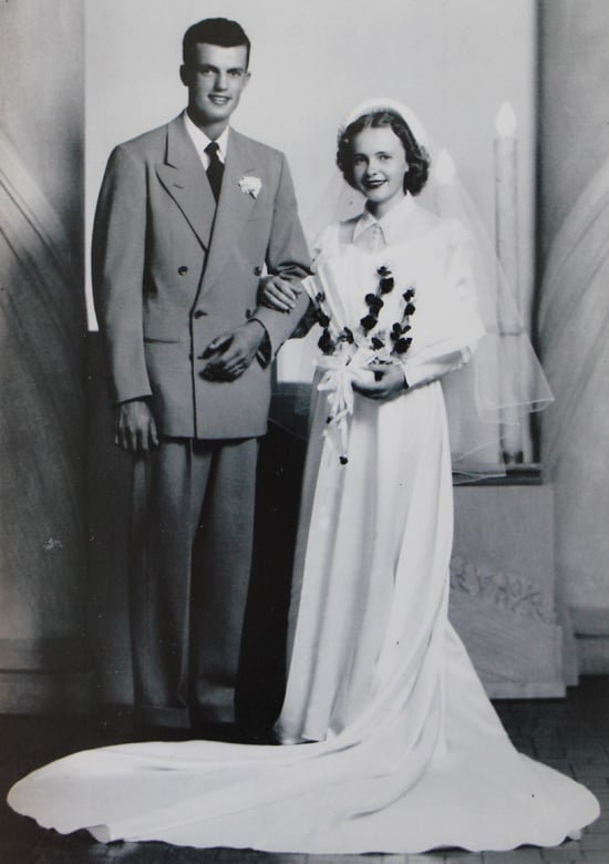 Vince and Lois Dawley wedding portrait.