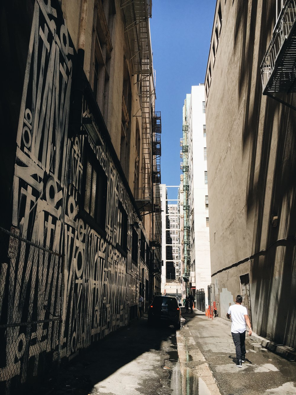 Finding the perfect alleyway.