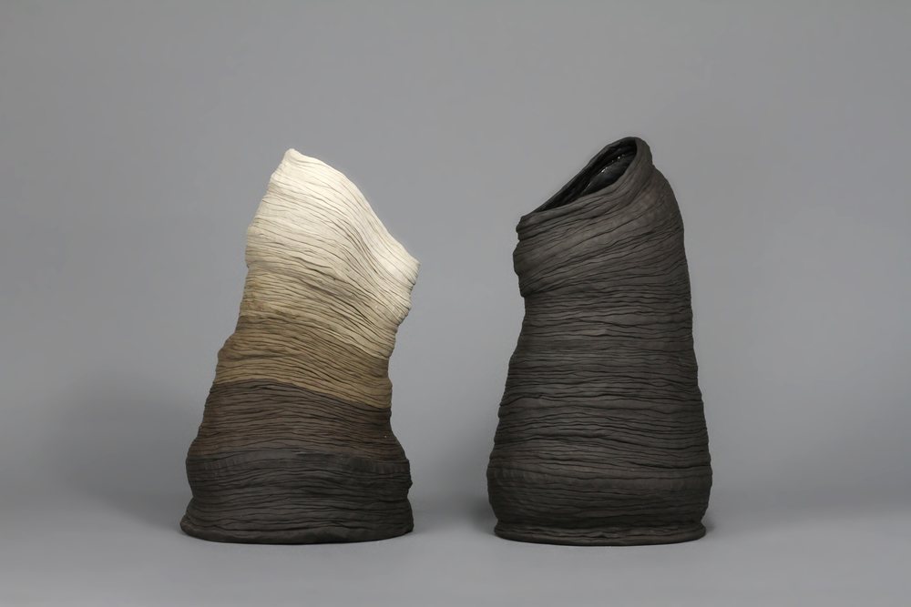 "porcelain, manganese clay  20"" tall  2015"