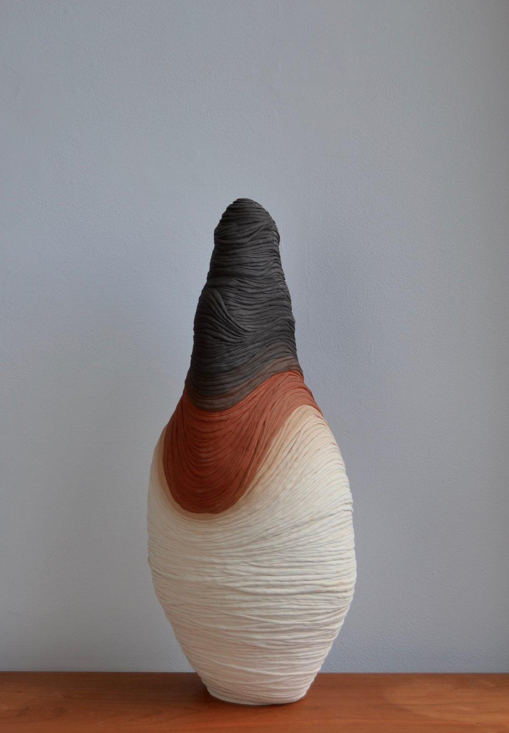 "porcelain, terra cotta, black clay  27"" tall  2016"