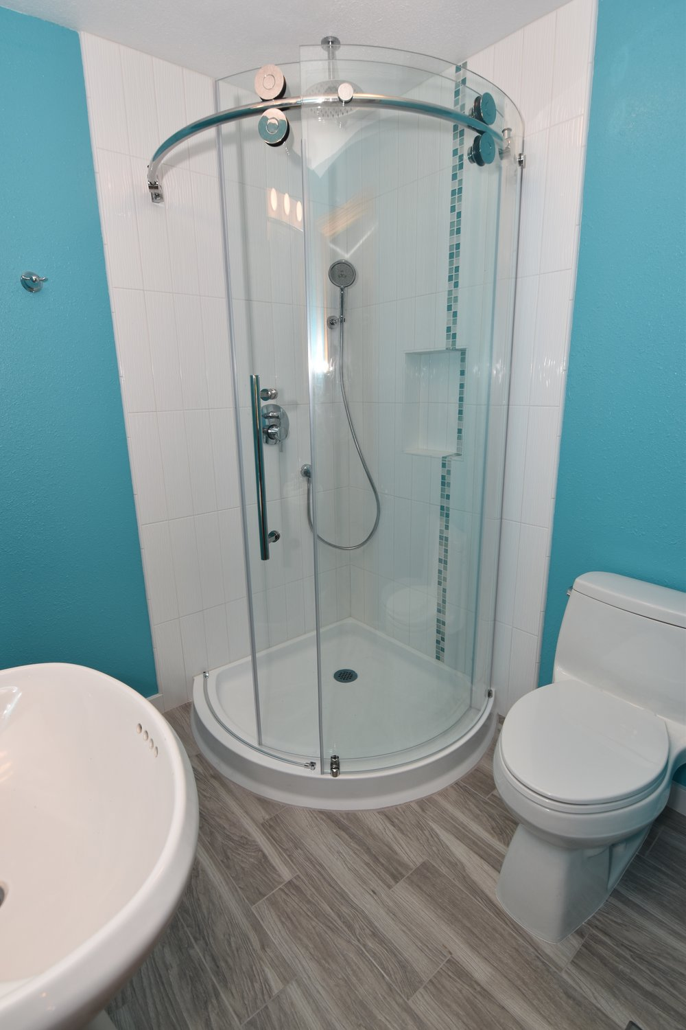 "Isn't this ""Vault"" style shower door system amazing?  More pictures"