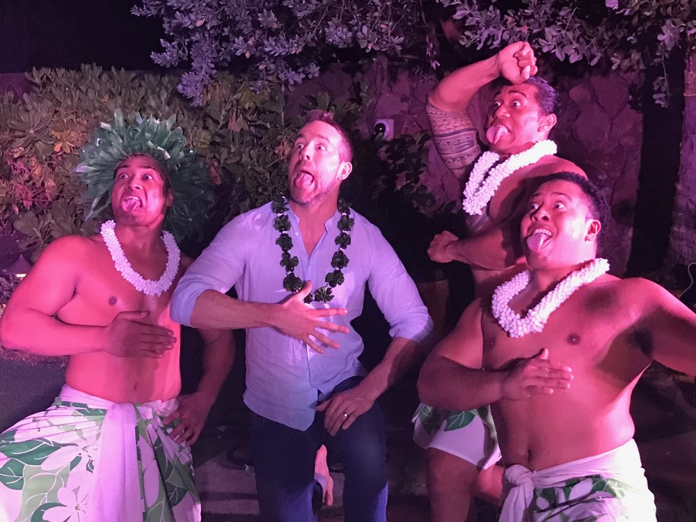 April 10 2017 The Malu boys showing Ryan Reynolds how to Wiri and Pūkana