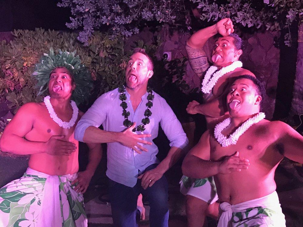 April 10 2017 The Malu boys showing Ryan Reynolds how to Wiri and Pūkana
