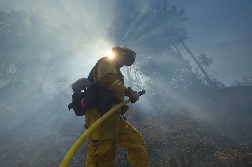 Cal Fire strike crews battle the King fire in El Dorado County near Fresh Pond on Wednesday, September 17, 2014.