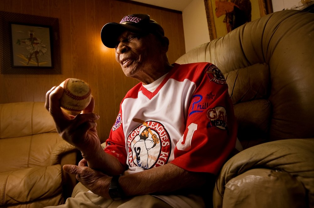 Former Negro Leagues baseball player Elmer Carter 98, at his home in Rancho Cordova on Wednesday, March 11, 2009. Carter is believed to be one of the few remaining Negro Leagues players still living, and played for the Kansas City Monarchs from 1929-1931.