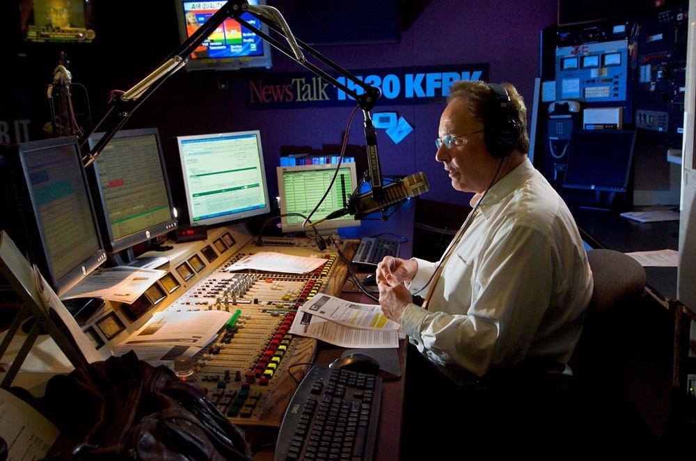 Radio host Tom Sullivan broadcasts from the KFBK radio studio in Sacramento on Wednesday August 29, 2007.