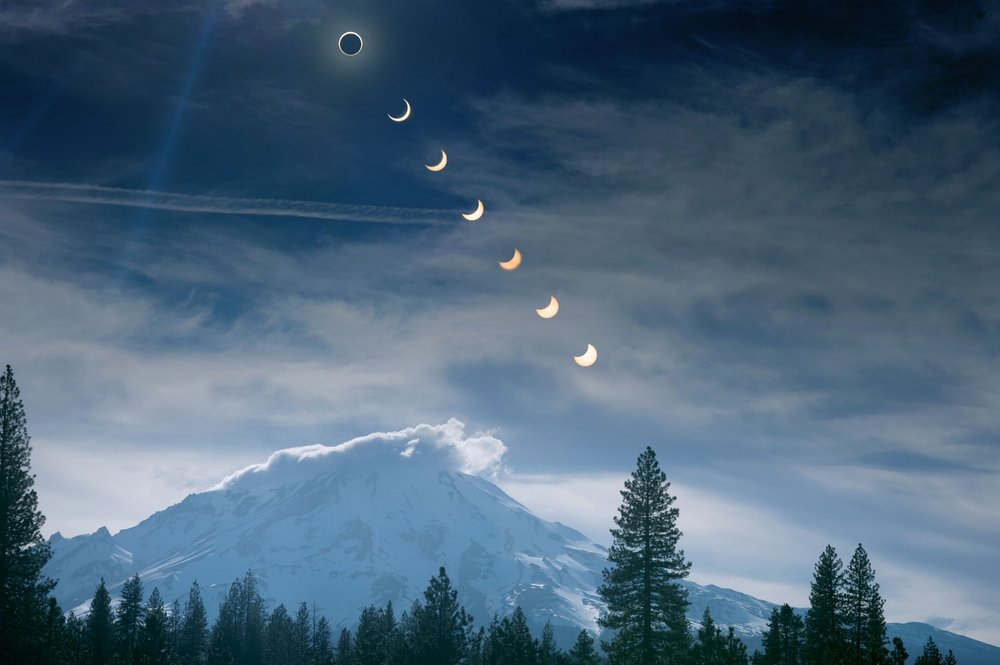 A multiple exposure of the annular solar eclipse over Mt Shasta near McCloud on Sunday, May 20, 2012.