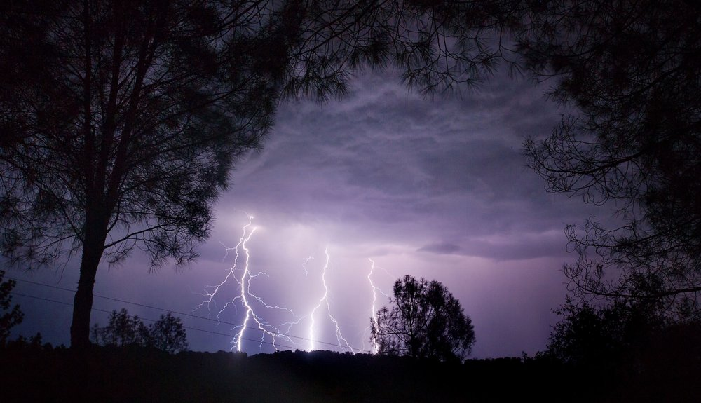 Lightning cracks through the sky over El Dorado in the early morning of Monday, July 23, 2012.