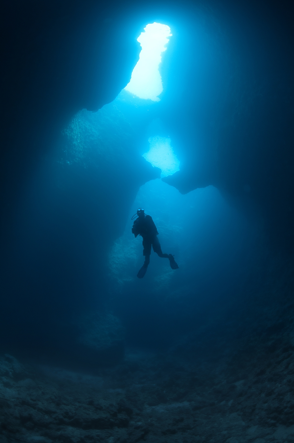 A diver descends into Blue Holes dive site in Palau on Monday, December 13, 2010.