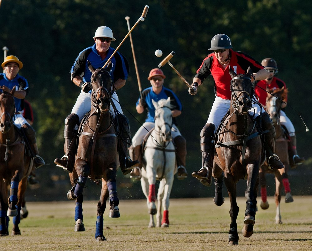 Polo players including Eric Hammon in white helmet, and Cameron Smith of Seattle at Chamberlain Ranch in Wilton on Thursday, June 21, 2012.