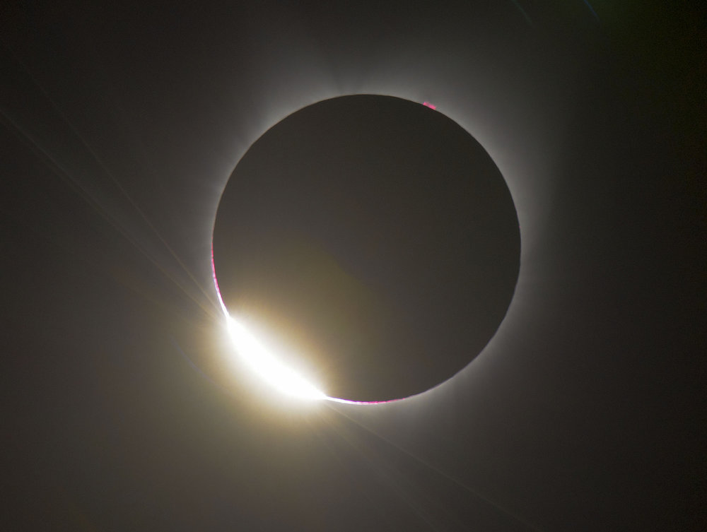 "The last bit of sunlight disappears behind the moon in aphenomenon commonly called the ""Diamond Ring"" during the total solar eclipse near Mitchell, OR on Monday, August 21, 2017."