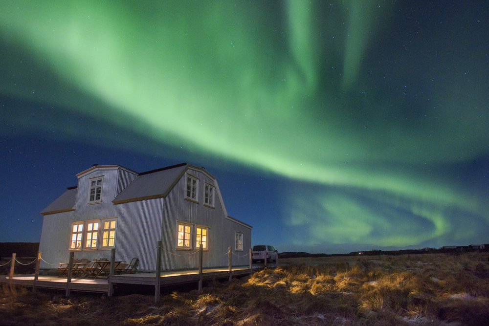 Aurora Borealis over the Lambalaekur farmhouse in Borgarnes, Iceland on Tuesday, December 26, 2017.