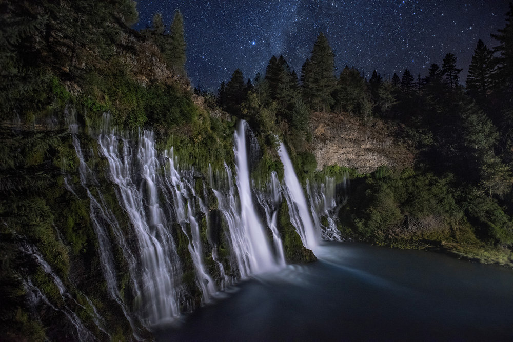 McArthur Burney Falls Memorial State Park in Burney, CA at 2:00 AM on Monday, September 10, 2018.