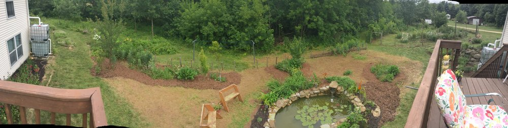 Carlson Homestead back yard with pond built during a workshop (led by Bryce Ruddock) at the 2014 WPC .