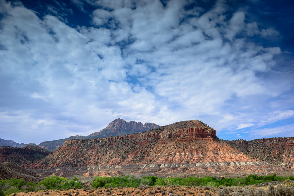 The entrance to Zion National Park offers stunning views and red rock formations.