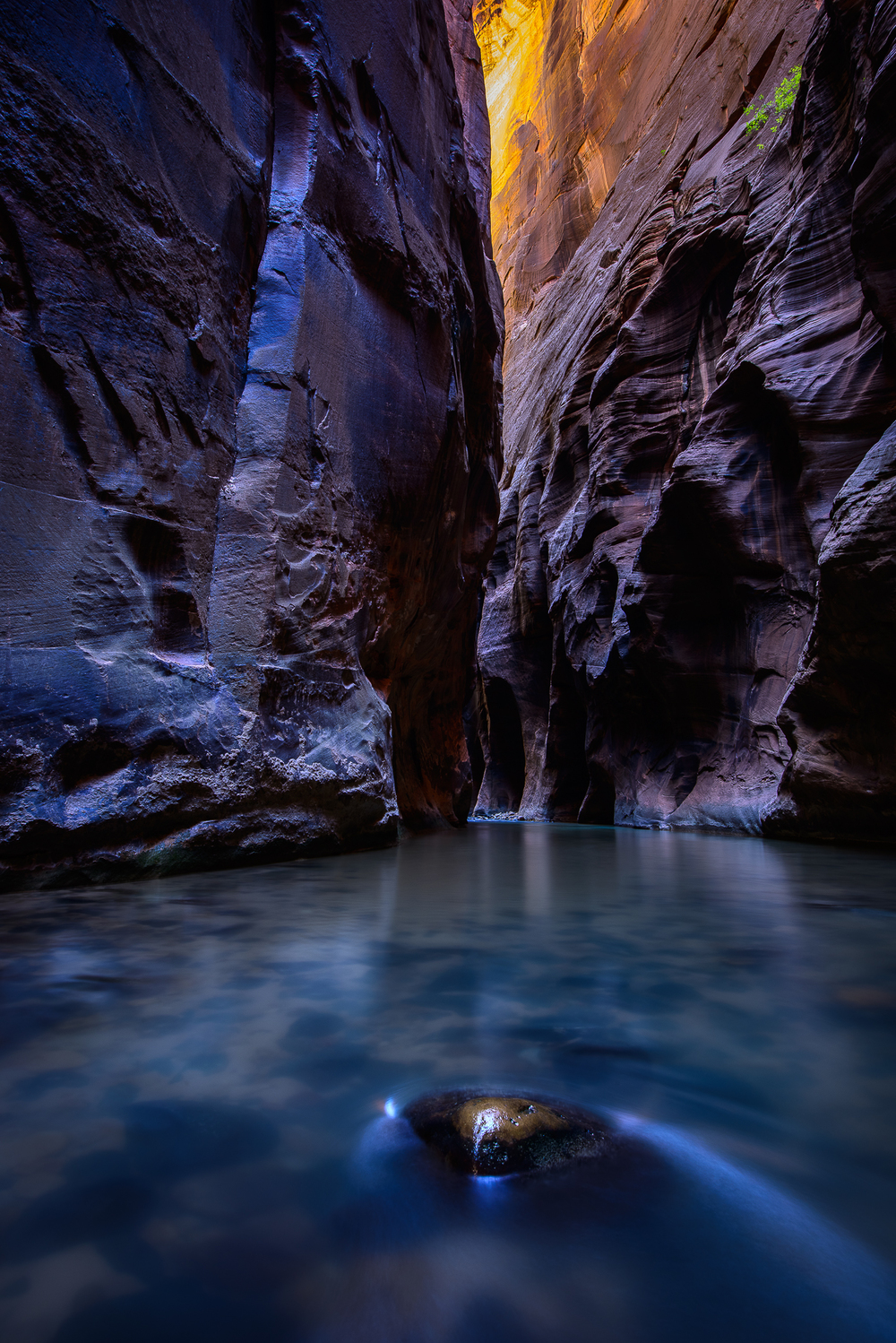 Amazing reflections of blue and orange are found deep inside a section of the Narrows known as Wall Street.