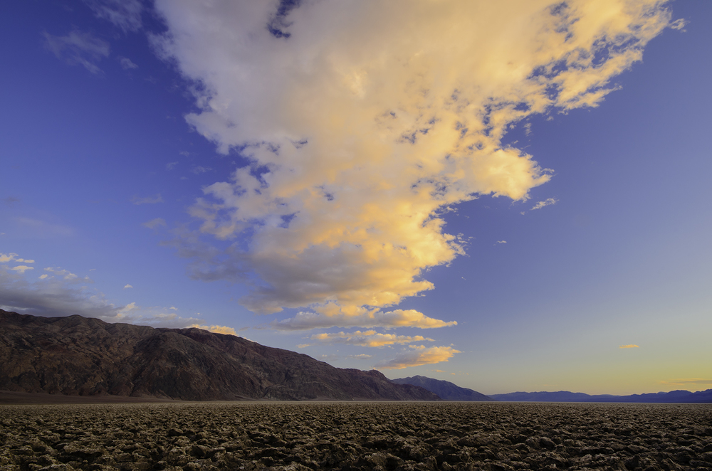 Sunset over Devil's Golf Course in Death Valley, CA