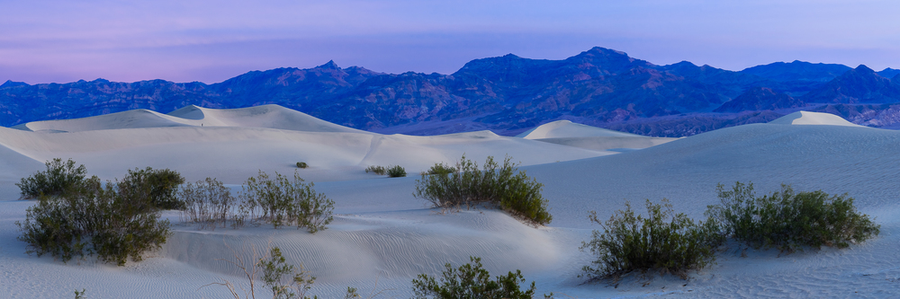 The cartoon glow of sunrise illuminates the Mesquite Sand Dunes of Death Valley, CA.