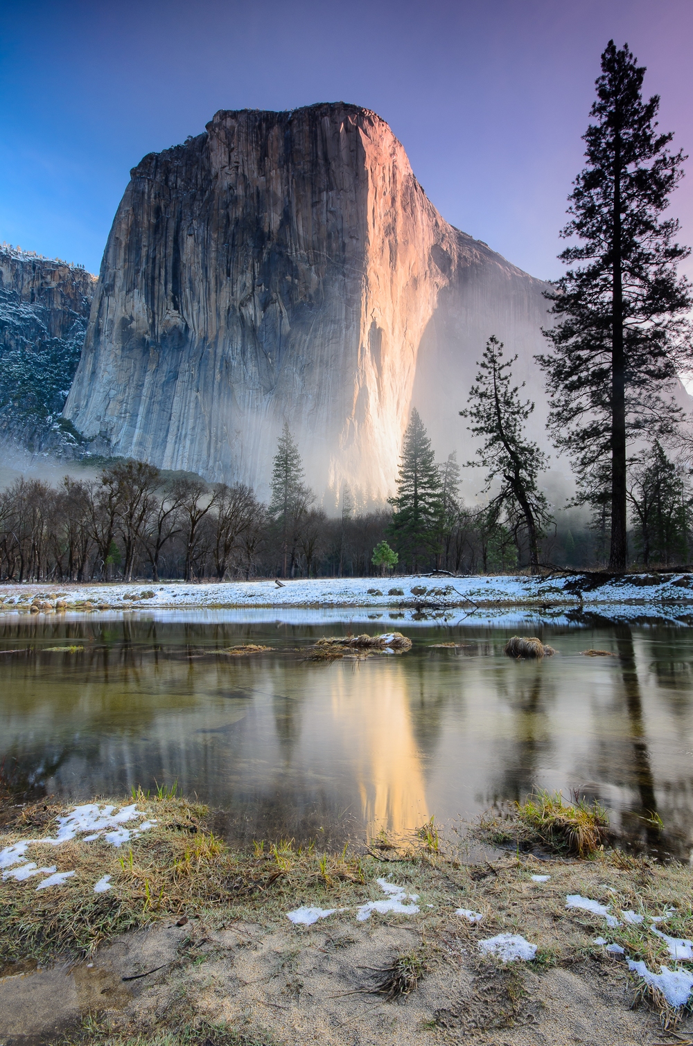 El Capitan catching the first rays of sunrise.