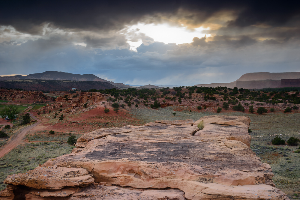A quick dash to the top to watch the sky open.  Capitol Reef National Park, UT.