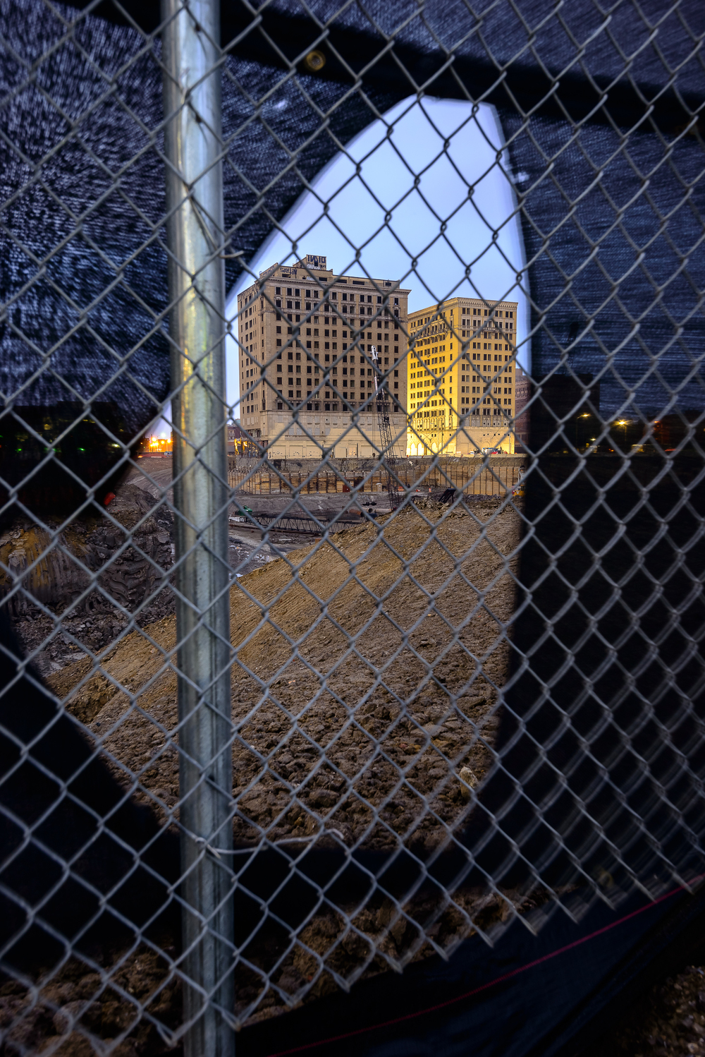 7/7/15.  The Red Wings are getting a new arena, but not before some historical buildings are given the boot.  The Hotel Park Ave (left) just days before implosion.