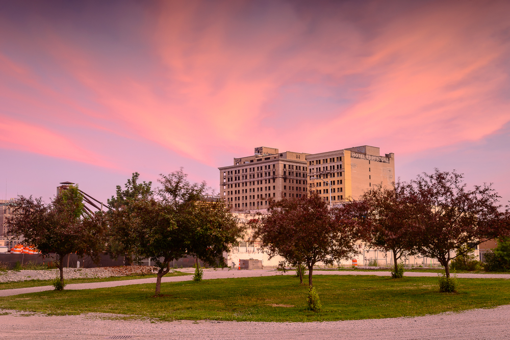7/10/15.  A fitting final sunset over the Hotel Park Ave.  Implosion less than 12 hours away.