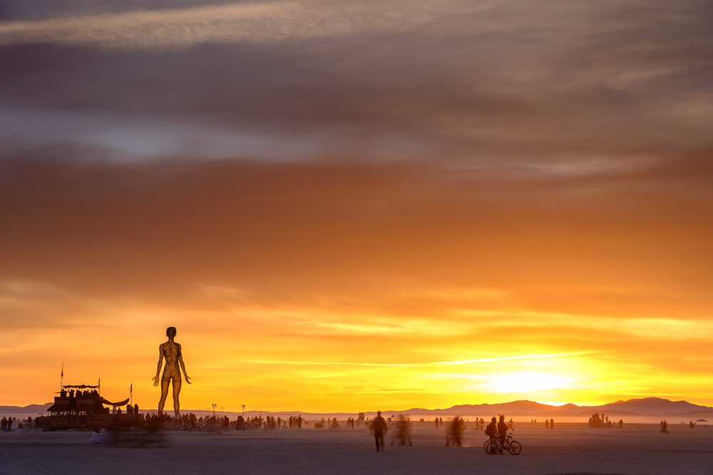 THIS. Best sunrise I've witnessed, let alone shot, in four years on the playa. After a chaotic night where The Man and many structures burned, welcoming Sunday like this was sheer magic.