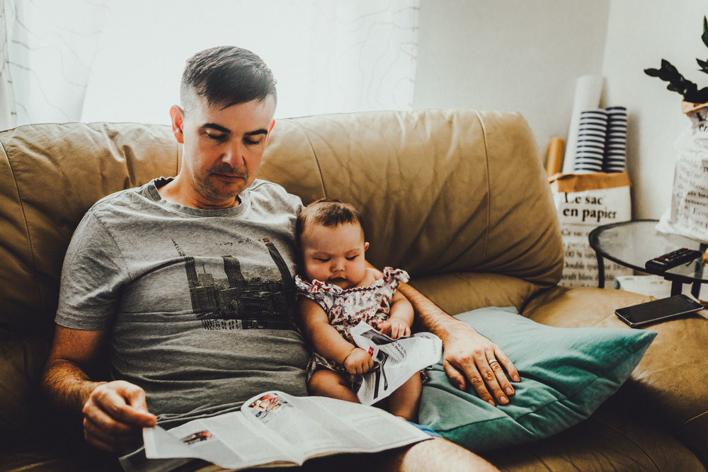 Reading The Economist with daddy