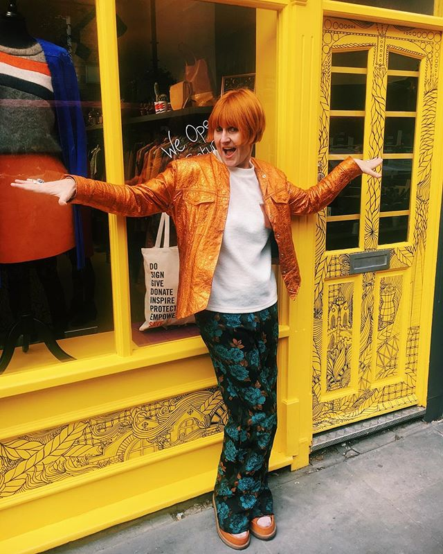 Here's the boss @maryportasofficial opening the latest @maryslivingandgiving shop this morning 💃Opposite the @fashiontextilemuseum it's the newest addition to Bermondsey street retail 🙌💥✨#FashionSavesLives