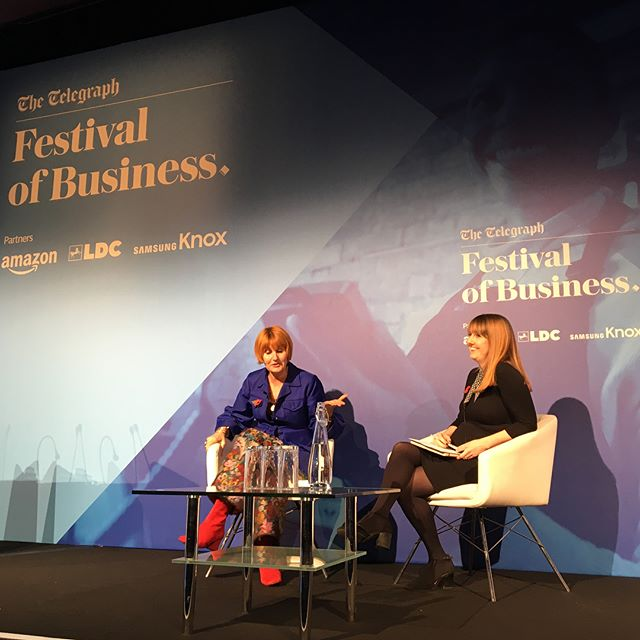 """""""The Portas culture is about collaboration. I employ radiators not drains."""" 💪🏻✨Our @maryportasofficial sharing a few stories on her work journey & the personal business insights that have come along the way at the @telegraph Festival of Business today #TelegraphFoB #WorkLikeAWoman"""