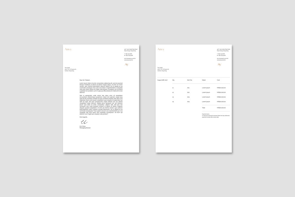 Letterhead and invoice