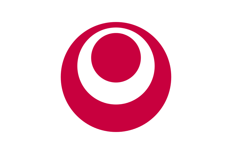 Okinawa ,a white letter  O within a red disc on a white field.