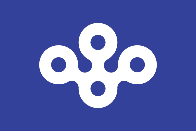 Ōsaka ,the blue stands for cleanness, freshness and intelligence and also represents the sky and sea due to Ōsaka City having both an airport and seaport. The blue also represents Ōsaka's nickname  water city , due to having many rivers and facing two seas. The mon represents  calabash , the symbol of  Toyotomi Hideyoshi . Circles also mean the letter  O .