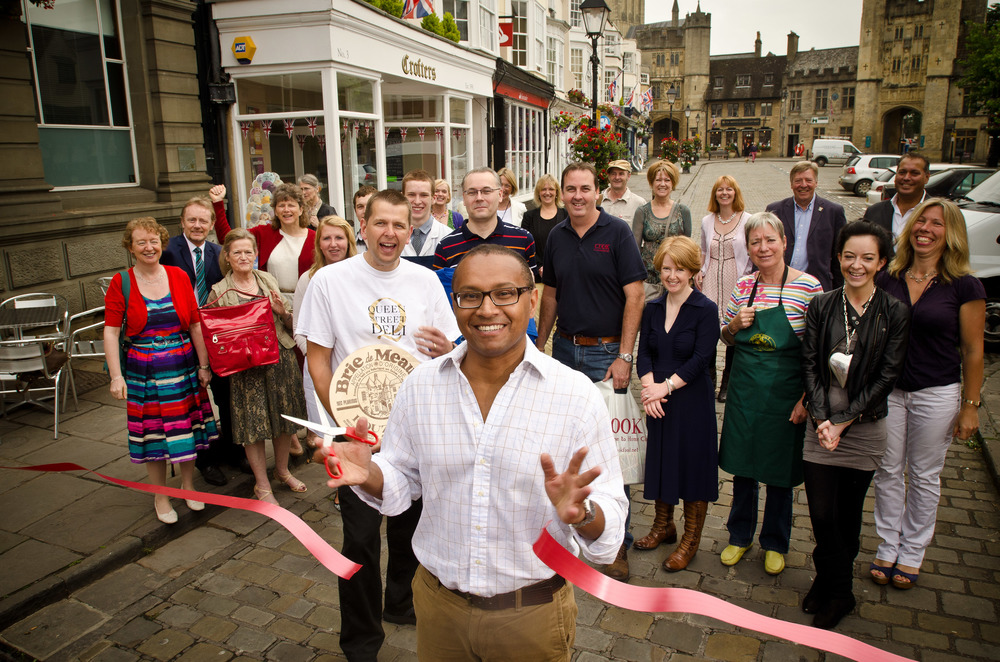 Shopkeepers in Wells, Somerset launching a campaign to get their High Street shops online. This PR photo got the clients story into local, regional and trade press, which in turn was picked up by local radio and even Radio 4.