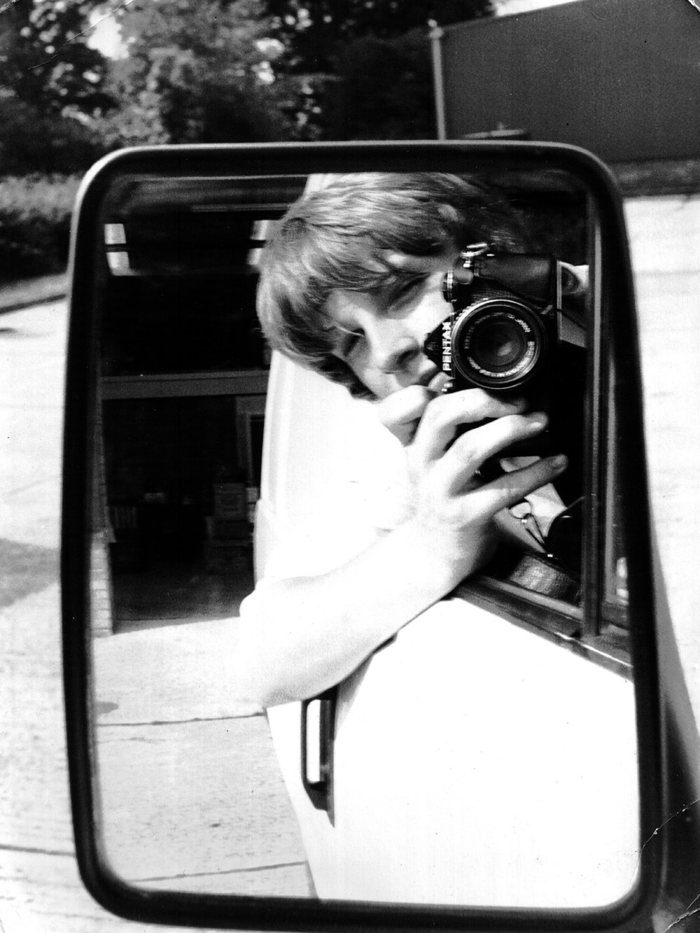 Here's me with my first proper camera - a Pentax ME Super 35mm, already a camera nerd at 14.