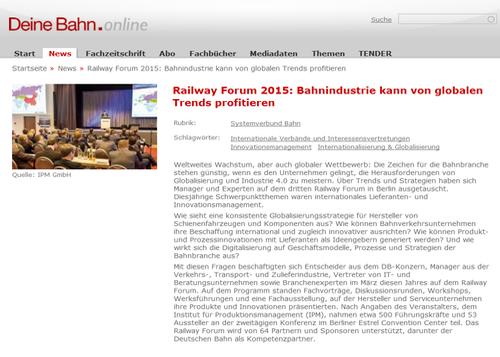 Thomas Tschepke, Bahn Fachverlag GmbH, über RAILWAY FORUM 2015