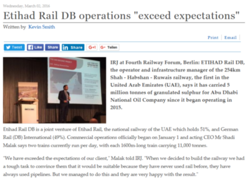 Kevin Smith, Features Editor, International Railway Journal on Etihad Rail DB at RAILWAY FORUM 2016