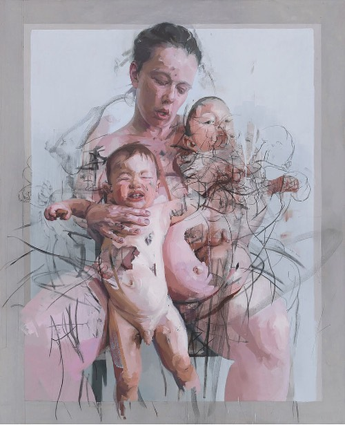 Captivated by the endless aesthetic and formal possibilities of the materiality of the human body, Jenny Saville makes a highly sensuous and tactile impression of surface and mass in her monumental oil paintings. Subjects are imbued with a sculptural yet elusive dimensionality that verges on the abstract. In recent paintings, she renews her enduring figurative investigations by depicting bodies embracing and intertwined.  #jennysaville #art #contemporaryart #curator #artcollector #artfair #artgallery #oxford #amsterdam #tokyo #miami #painting
