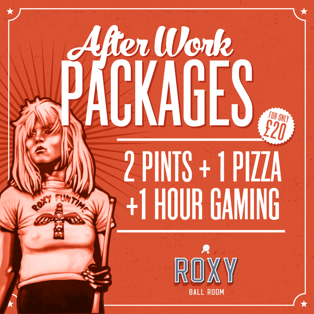 join us after a hard day and relax roxy style!   2 pints, 1 pizza and an hour of ping pong or pool  -