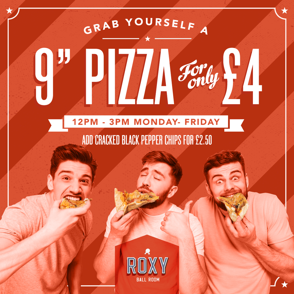 "Introducing our new lunch deal - JOIN US MONDAY TO FRIDAY LUNCH TIMES FOR A UNBELIEVABLE PIZZA DEAL! GRAB A 9"" PIZZA FOR ONLY £4"