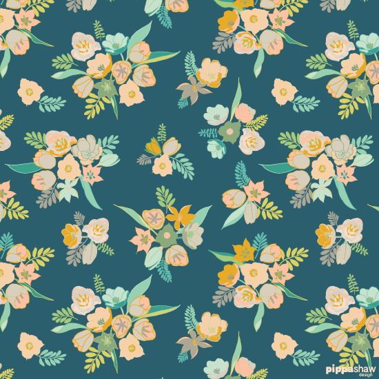Vintage Tulips in steel teal