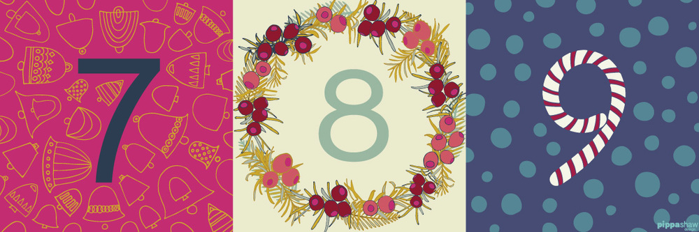 days 7 (Bells), 8 (Christmas Wreath) and 9 (Candy Cane) for the Four Corners Art Collective Instagram challenge