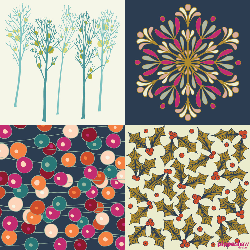 (clockwise from top left) days 3 (Winter Trees), 10 (Snowflake), 12 (Holly) and 6 (Christmas Bunting)