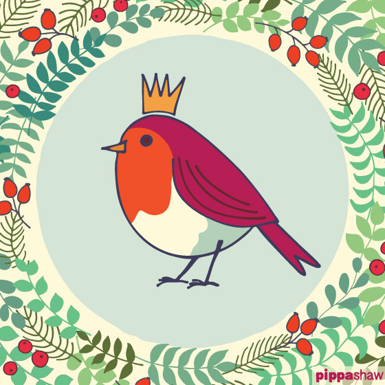 Robin in a Christmas wreath