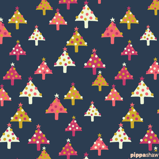 Cute Christmas trees repeat pattern