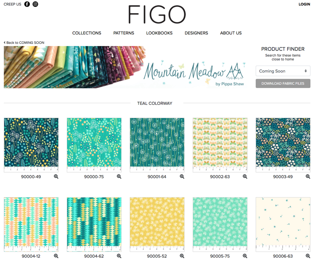 a selection of designs from the teal colourway