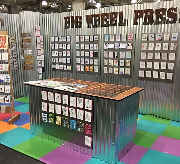 The Big Wheel Press stand at NSS 2018 - those with eagle eyes can spot a selection of my designs at the front, the rest are hiding out of shot! © Big Wheel Press