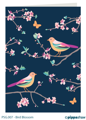 Bird Blossom Greetings Card by Pippa Shaw