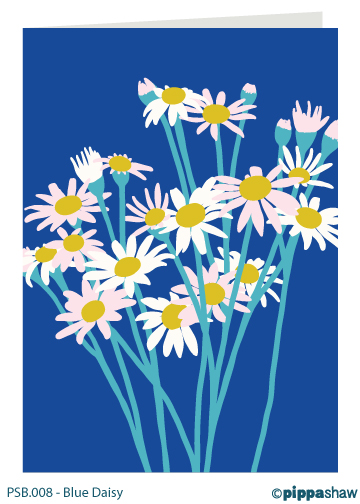 Blue Daisy Greetings Card by Pippa Shaw