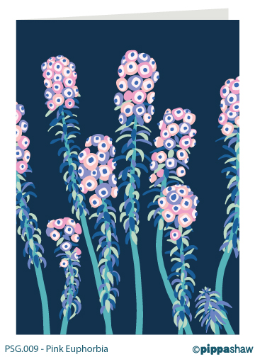 Pink Euphorbia Greetings Card by Pippa Shaw